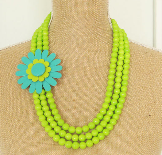Lime Green Asymmetrical Beaded Necklace with Lime-Teal Enameled Flower