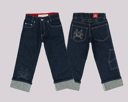 No Added Sugar's Classic Denim Jeans with Bunny Embroidered accents