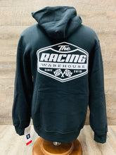Load image into Gallery viewer, The Racing Warehouse Throwback logo hoodie- BLACK