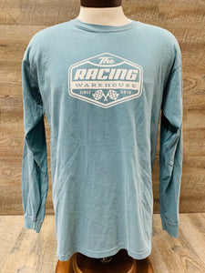 The Racing Warehouse Throwback Logo comfort colors long sleeved t-shirt- blue grey