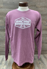 Load image into Gallery viewer, The Racing Warehouse Throwback Logo comfort colors long sleeved t shirt- maroon