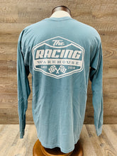 Load image into Gallery viewer, The Racing Warehouse Throwback Logo comfort colors long sleeved t-shirt- blue grey