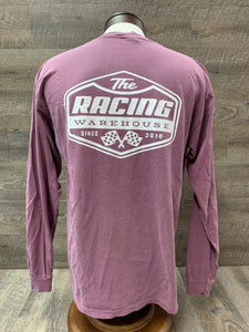 The Racing Warehouse Throwback Logo comfort colors long sleeved t shirt- maroon