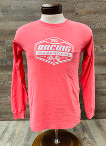 The Racing Warehouse throwback logo comfort colors long sleeved t shirt- washed red