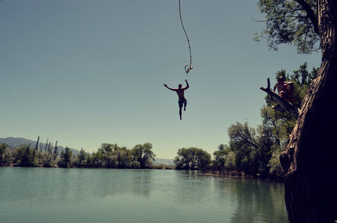 Rope swing over lake