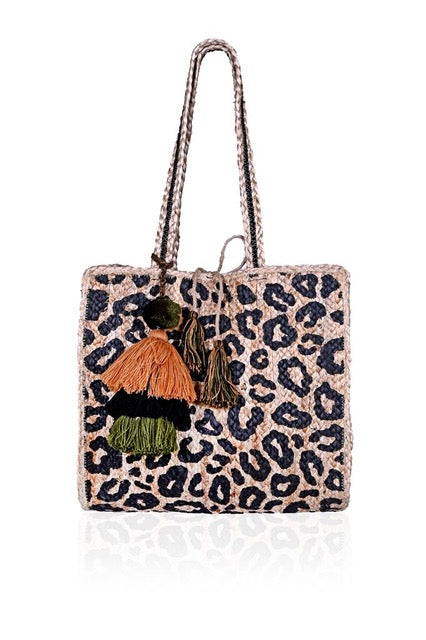 Lilly Leopard Jute Tote