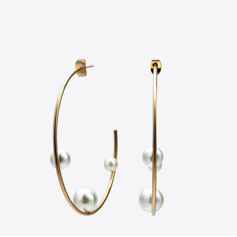 Three Pearls Gold Hoop Earrings