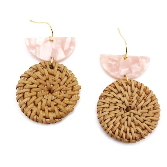 Rattan Disc Earrings