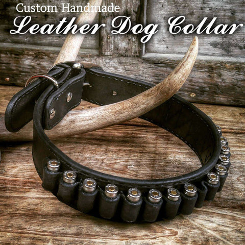 Six Shooter Leather Ammo Dog Collar , Leather - Cowboy Leather Company, Cold Dead Hands   - 1