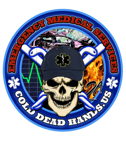 Cold Dead Hands Skull & Crossed Caduces EMS Vinyl Decal , Decals - Cold Dead Hands, Cold Dead Hands