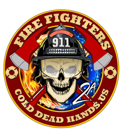 Cold Dead Hands Skull & Crossed Axes Fire Fighters Vinyl Decal , Decals - Cold Dead Hands, Cold Dead Hands