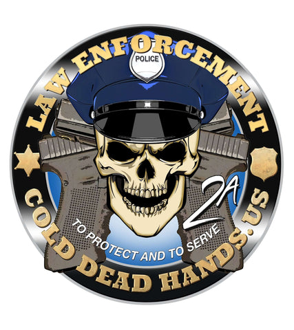Cold Dead Hands Skull & Crossed Handguns Law Enforcement Vinyl Decal , Stickers - Cold Dead Hands, Cold Dead Hands