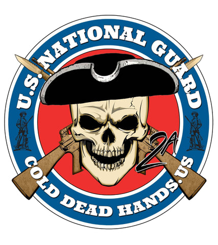 Cold Dead Hands Skull & Crossed ARs US National Guard Vinyl Decal , Stickers - CDH Store, Cold Dead Hands