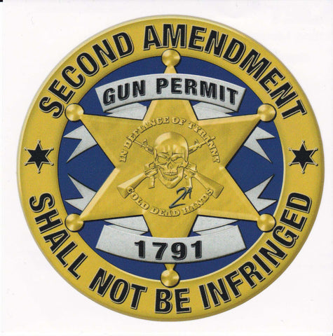 Cold Dead Hands Stamped Gun Permit Badge Vinyl Decal , Decals - Cold Dead Hands, Cold Dead Hands