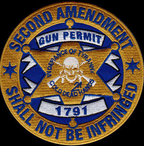 BLACK FRIDAY DEAL: 2nd Amendment Gun Permit Patch (Velcro) One Patch, Patches - Cold Dead Hands, Cold Dead Hands   - 2