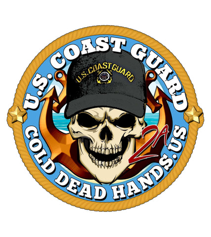 Cold Dead Hands Skull & Crossed Anchors US Coast Guard Vinyl Decal , Stickers - Cold Dead Hands, Cold Dead Hands