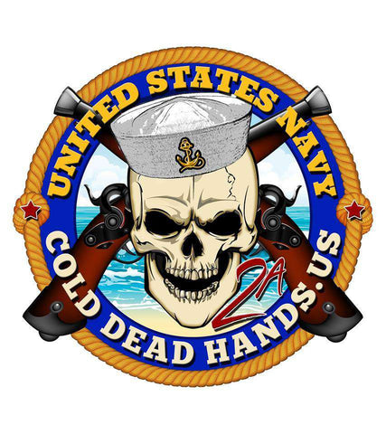 Cold Dead Hands Skull & Crossed Pistols US Navy Vinyl Decal , Stickers - Cold Dead Hands, Cold Dead Hands