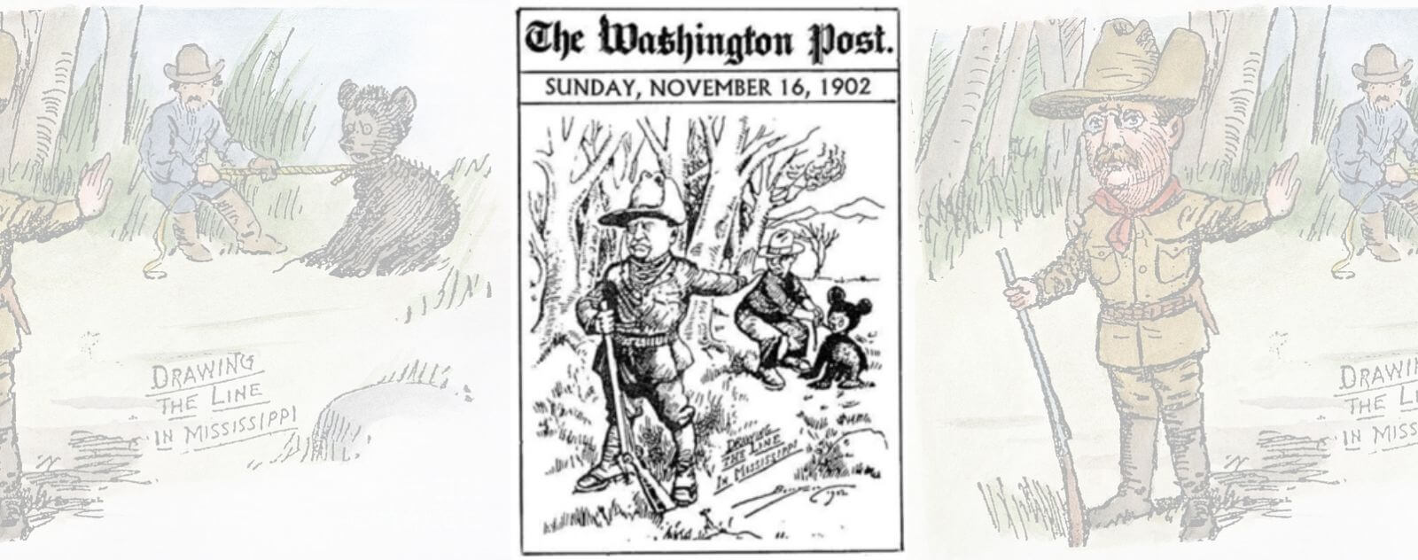 Theodore Roosevelt et le Premier Ours en Peluche (Caricature Drawing The Line in Mississippi)