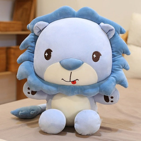 Peluche Lion Assis Bleu