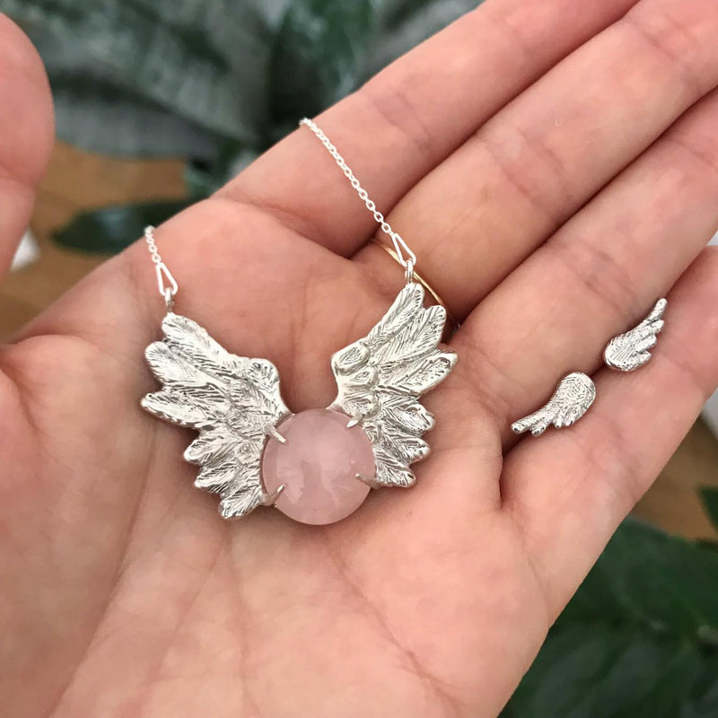 Pink Angel silver necklace