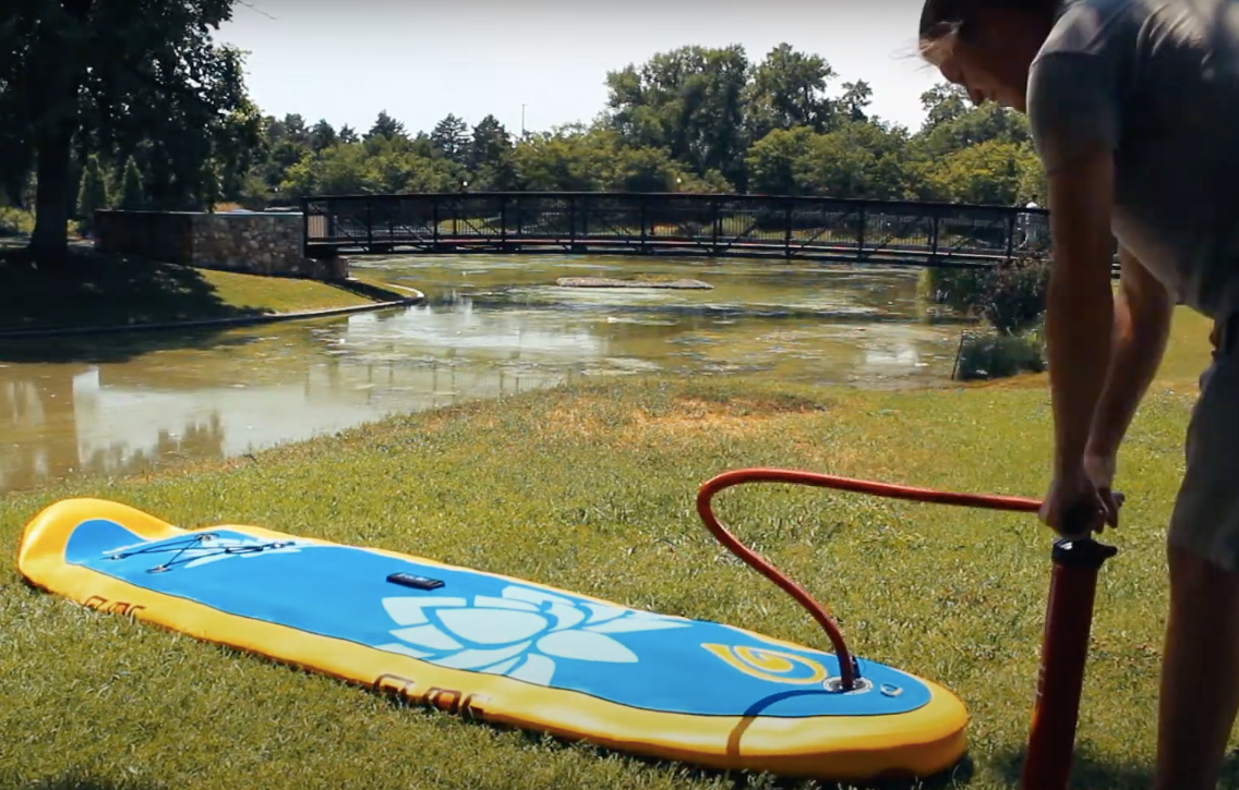 inflating a stand up paddle board