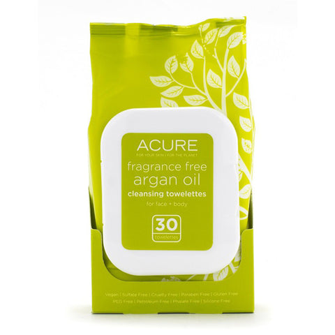 Acure Fragrance Free Argan Oil Cleansing Towelettes - Bella Cuore