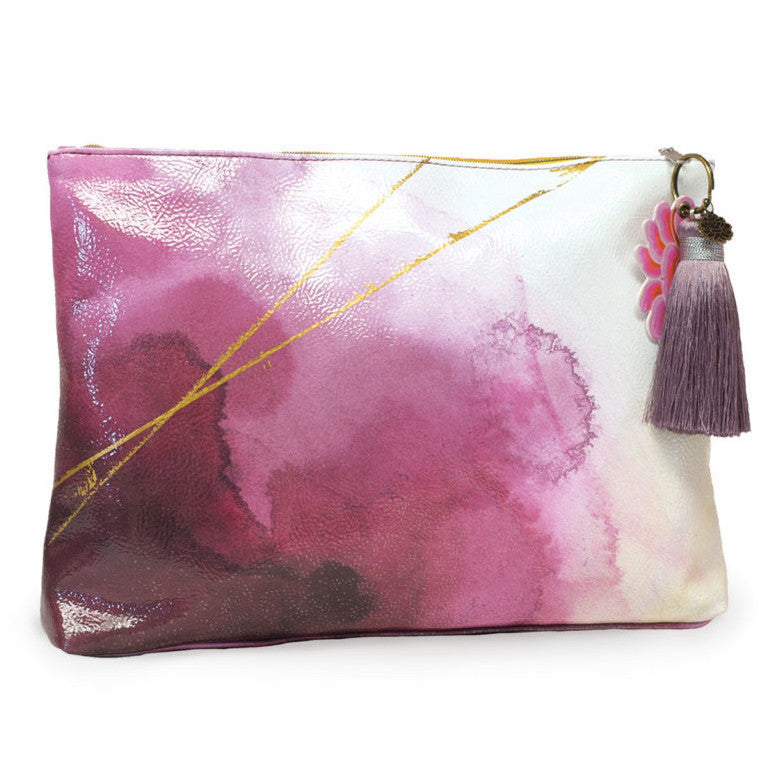 Indigo Watercolor Papaya Large Tassel Makeup Bag - Bella Cuore