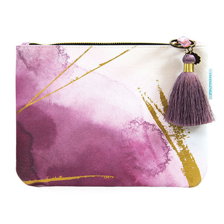 Quartz Gilded Flowers Papaya Pocket Clutch Makeup Bag - Bella Cuore