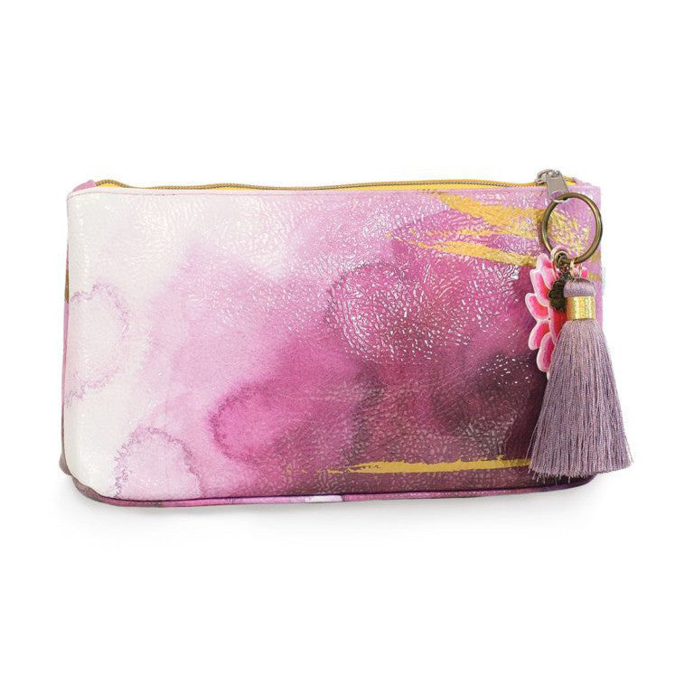 Plum Watercolor Papaya Small Tassel Makeup Bag - Bella Cuore