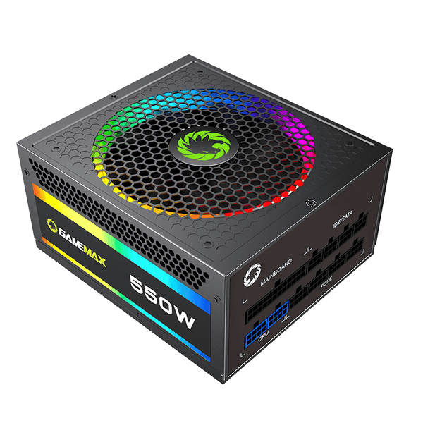 GAMEMAX RGB550-Rainbow 550W Fully Modular 80+ Gold Certified with RGB Light