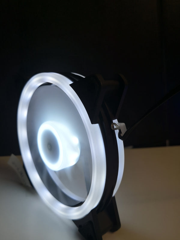 12cm Dual Ring White LED Case Fan V2