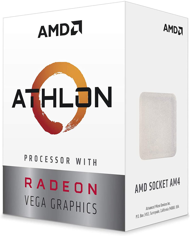 AMD Athlon 3000G, 2 Core 4 Threads 3.5Ghz 5MB Cache Socket AM4 35W with Radeon Vega 3 Graphics With Silent Fan