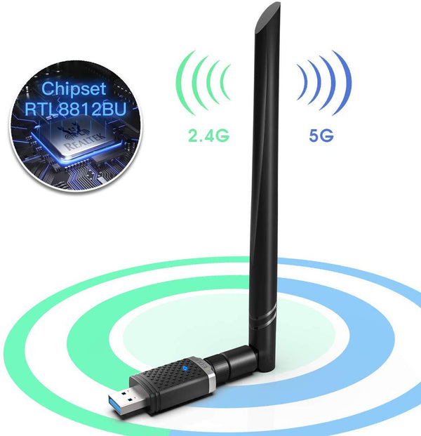 EDUP Dual Bank Wireless AC 1300M USB Adapter with High Gain Antenna