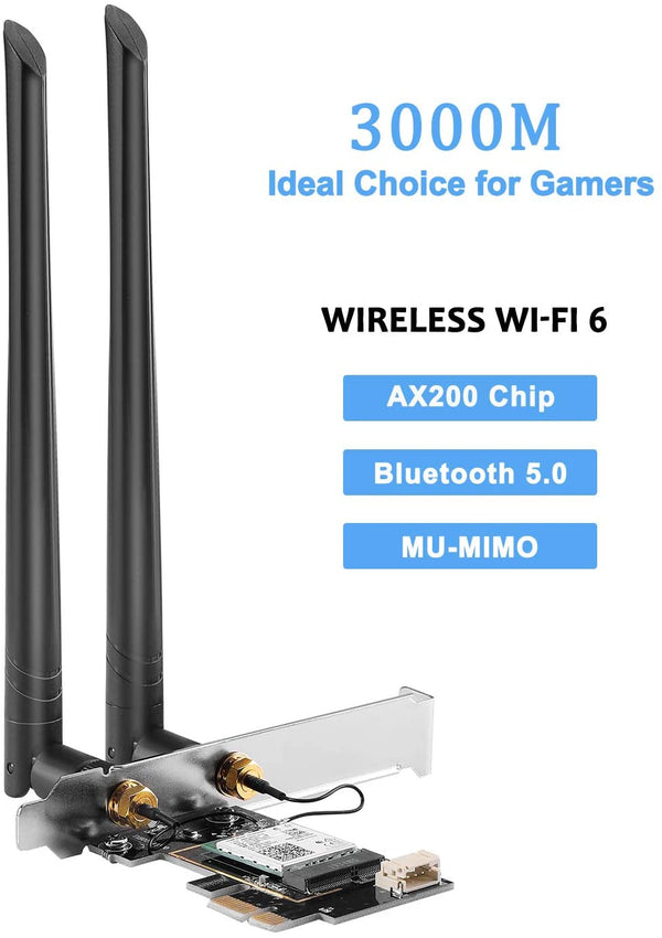 Intel Dual Band AX200NGW M.2 Card, 802.11ax Wi-Fi 6, 2.4Gbps/Bluetooth 5.1 (PCI-E Adapter Card & Antenna included)