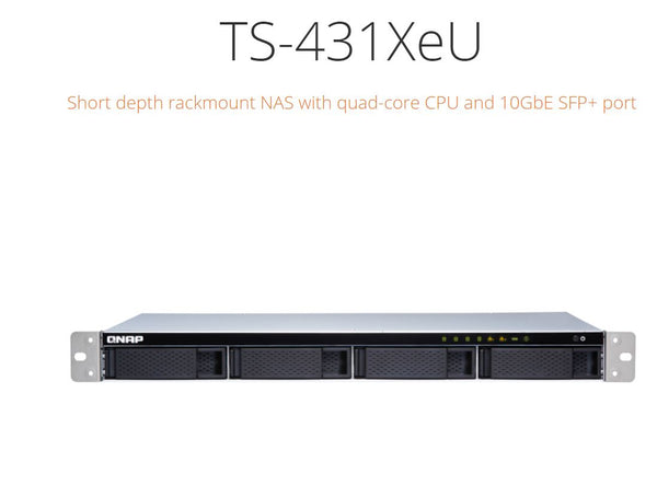 QNAP TS-431XEU-2G NAS, 4BAY (NO DISK), AL-314, 2GB, USB,GbE(2),10GbE SFP+(1),1U, 3 Years Warranty