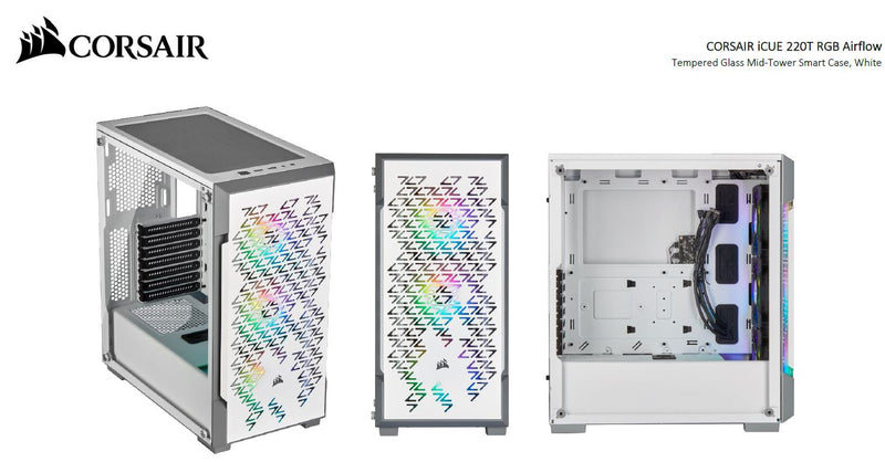 Corsair iCUE 220T RGB Airflow Smart ATX, mATX, Mini-ITX Case - White. 2 Years Warranty
