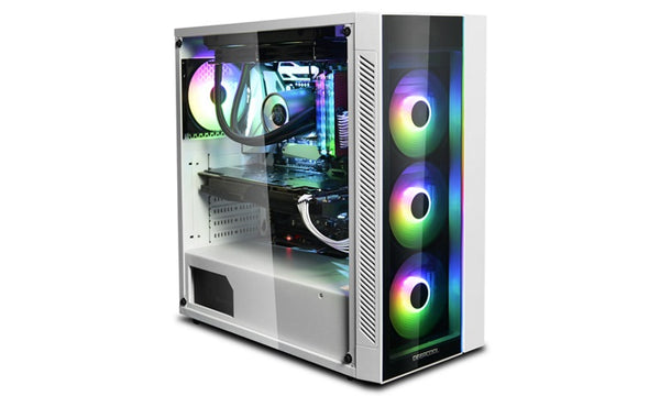 Deepcool MATREXX 55 ARGB WH Full Sized Tempered Glass Case, White Colour, Supports E-ATX, ARGB LED Strip @ Front, No Fans