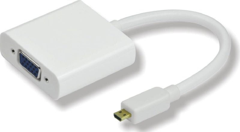 Astrotek Micro HDMI to VGA Cable 15cm - Micro D Male to VGA Female White RoHS LS
