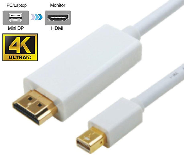 Mini DisplayPort DP to HDMI 4K Cable 2m - 20 pins Male to 19 pins Male Gold plated RoHS