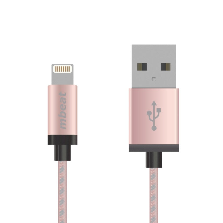mbeat® 2m USB Lightning Data Sync Charger Cable Rose Gold Braided MFI Certified Apple iPhone X 11 7S 7 8 Plus XR 6S 6 Plus 5 5S iPad Air Mini iPod