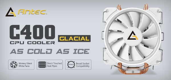 Antec C400 GLACIAL White Air CPU Cooler 77 CFM, 8mm Copper Base. 115X, 2011, 2066,, AM3, AM3+, FM1, FM2, FM2+ 3 Years Warranty
