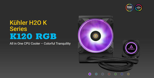 Antec Kuhler K120 RGB All in One CPU Liquid Cooler, LGA 2066, 2011, 115x, AMx, FMx. 3 Yr Warranty