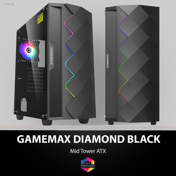 GAMEMAX Black Diamond A-RGB Mid-Tower Gaming Case Tempered Glass with MB Sync (RGB Fans not included)