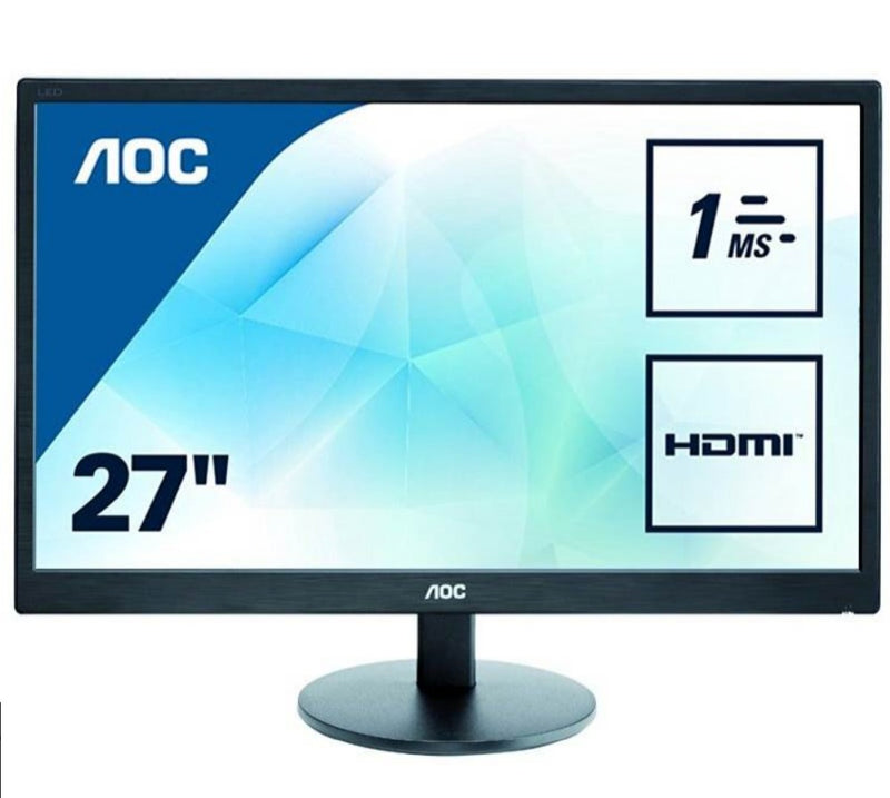 AOC 27″ E2770SH/75 1ms Full HD Narrow Bezel Monitor – HDMI/DVI/VGA,Tilt,VESA100,Speaker