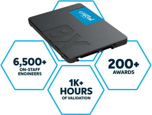 Crucial BX500 2TB 2.5' SATA3 6Gb/s SSD - 3D NAND 540/500MB/s 7mm 1.5 mil MTBF 3yr wty Acronis True Image Solid State Drive