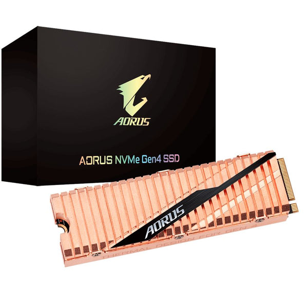 Gigabyte Aorus M.2 PCIe NVMe Gen4 SSD 1TB - 5000/4400 MB/s 750K/700K IOPS 3D NAND TLC 1.77 Mil MTBF 5yrs Wty TRIM SMART Wear Leveling Over Provision