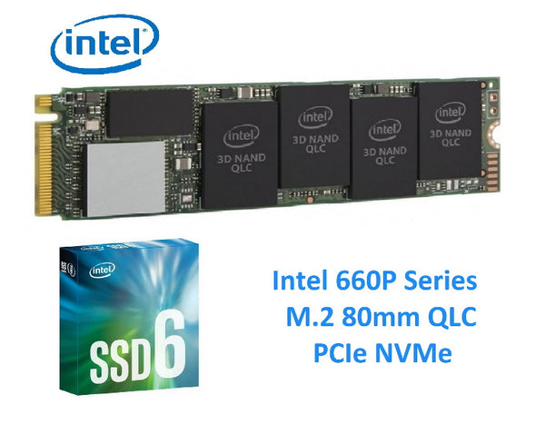 Intel 660P Series PCIe NVMe M.2 512GB SSD 3D2 QLC 1500R/1000W MB/s 90K/220K IOPS 80mm 1.6 Million Hours MTBF Solid State Drive 5yrs Wty