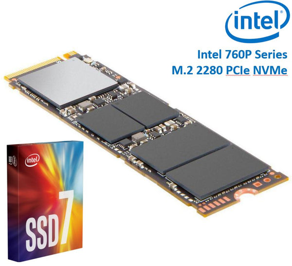 Intel 760P Series M.2 80mm 2000GB 2TB SSD 3D2 TLC PCIe NVMe 3230/1625MB/s 340K/275K IOPS 1.6 Million Hours MTBF Solid State Drive 5yrs Wty