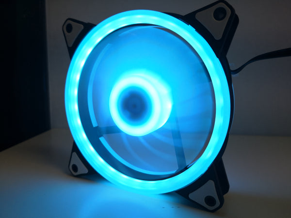 12cm Dual Ring Ice Blue LED Case Fan V2