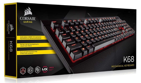Corsair Gaming K68 - IP32 Spill Resistant, Compact Mechanical Keyboard, Cherry MX Red, Backlit Red LED